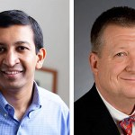 """Harvard Professor of Economics Raj Chetty (left) and Benjamin Warf, associate professor of surgery at Harvard Medical School and director of the Neonatal and Congenital Anomaly Neurosurgery Program at Children's Hospital Boston, have received 2012 MacArthur Foundation fellowships, more commonly known as """"genius grants."""""""