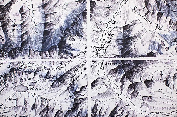 """Cartographic Grounds,"" an exhibit at Gund Hall through Dec. 19, uses maps to show old and new drawing techniques. Sections of an old map of Switzerland (above) employ hachures — short lines used to depict an incline's degree of slope."