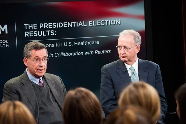 """Although some parts of the Affordable Care Act are already active, Professor of Health Policy and Political Analysis Robert Blendon (left) believes implementation will be uneven from state to state. """"The important thing is the law moves forward and survives,"""" said John McDonough (right), director of HSPH's Center for Public Health Leadership."""