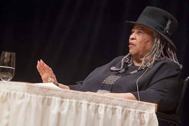 "In a talk titled ""Goodness: Altruism and the Literary Imagination,"" Toni Morrison expanded on the theme of goodness for the 2012 Harvard Divinity School's Ingersoll Lecture on Immortality. ""Expressions of goodness are never trivial in my work, are never incidental in my writing,"" said Morrison."