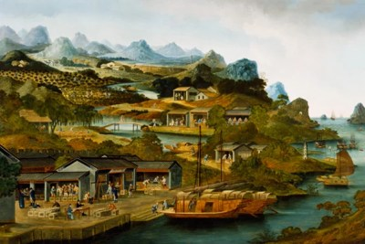 The Production of Tea, 1790-1800, Guangzhou, China, Oil on canvas. Peabody Essex Museum