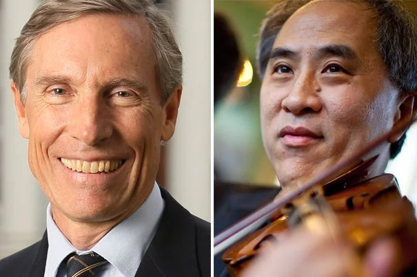 """David W. Oxtoby (left) has been elected president of Harvard's Board of Overseers for 2013-14. Lynn Chang will become vice chair of the board's executive committee. """"David Oxtoby and Lynn Chang are two distinguished educators who bring invaluable and complementary perspectives to the work of the Overseers,"""" said President Drew Faust."""