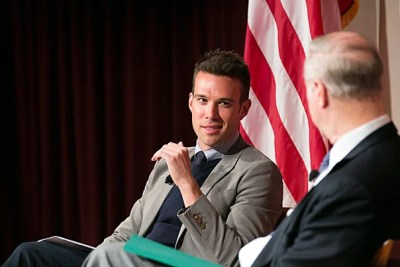 "In a talk at the JFK Jr. Forum, Jon Favreau (left), the former director of speechwriting at the White House, told Professor David Gergen that as a speechwriter ""your only goals are to clearly explain simple policies in as little words as possible, and then spend as much time as you can … inspiring people."""