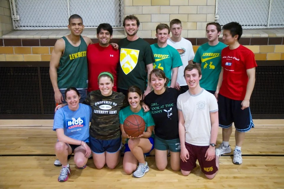 Leverett House basketball Team C. Front row: Resident Dean Lauren Brandt (from left), Cynthia Tassopoulos, Emma Keller, Katelyn Smith, and Joseph McGing. Back row: David Williams (from left), Manny Mendoza, Andrew Garbarino, Robert Worley, Chris Lupien, Matthew Megan, and Kai Fei.