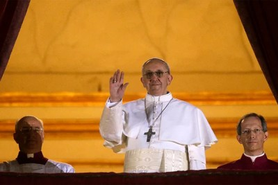 Pope Francis waved to the crowd from the central balcony of St. Peter's Basilica at the Vatican after being elected as the 266th pontiff of the Roman Catholic Church on Wednesday. Harvard professors discuss the selection of Vatican's first Jesuit leader, which marks a shift for the 2,000-year-old institution.
