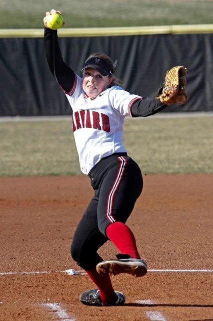 Pitcher Jamie Halula '16 winds up. Halula pitched all five innings of a run-rule shortened game and came away the winner as the Crimson defeated Princeton, 11-3, in the second game of a doubleheader.