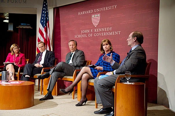 """Companies have shifted their responsibility to shareholders above consumers and have spent more time appealing to Washington than to the public, said Benjamin W. Heineman (far right). The forum event, """"Is America Working? What Business and Government Can Do,"""" brought together a group of experts in business and government, including Nina Easton (from left), Roger Porter, Lawrence Summers, Paula Dobriansky, and Heineman."""