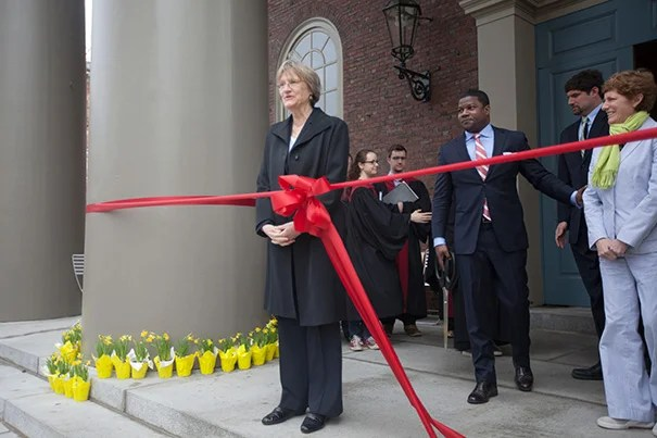 """""""This week, more than ever, we have recognized the force, strength, and necessity of community,"""" said President Drew Faust during the opening of a new common space called the Porch, formerly known as the steps of the Memorial Church."""