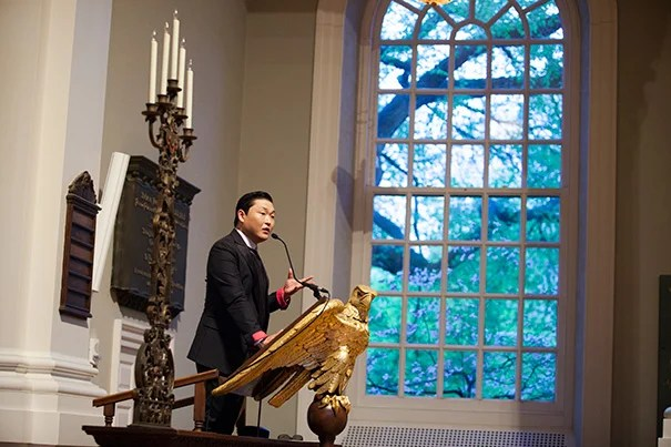 "The Korea Institute at Harvard University sponsored ""A Conversation with Psy"" for a packed audience of Harvard students, staff, and faculty and the international press at the Memorial Church."