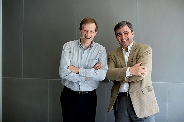 Harvard Professor Gary King (left) collaborated with Professor Eric Mazur to ally his data analytic skills with Mazur's teaching technology and methodology to form Learning Catalytics in 2011, which focused on improving classroom education.