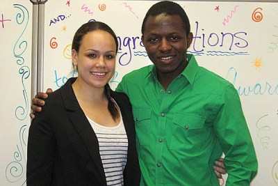 "Ruth Goins '13 and Kabungo ""Yanick"" Mulumba '15 were presented with the Joseph L. Barrett Award."