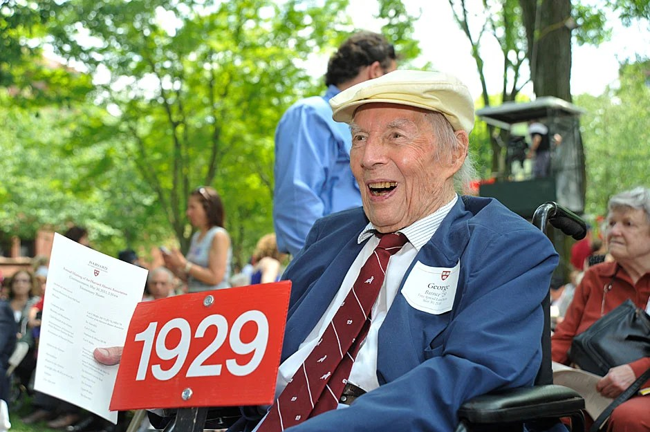George Barner '29 is in lively spirits, despite the day's blistering heat. At 104 years old, he's the alumnus from the oldest class year. Jon Chase/Harvard Staff Photographer