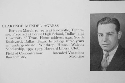 From the yearbook of Clarence Agress, Class of 1933, and his entry in the Harvard Gazette upon graduation. Agress returned to campus for Harvard's 362nd Commencement and was greeted by his nephew, Allan Miller (right),  Class of 1954.