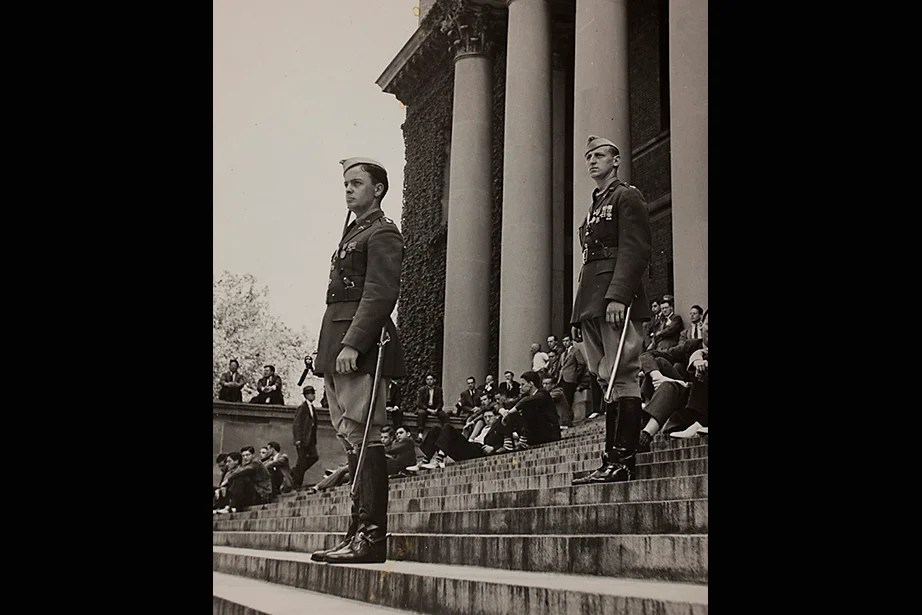 "Harvard University Archives image. Inscription reads, ""Mil Sci Review on steps on Widener, May 1941, WWII."" Stephanie Mitchell/Harvard Staff Photographer"