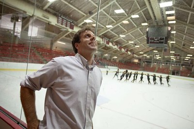 Jason Waldron, Harvard Athletics' facilities manager,  tours Bright Hockey Center, where the lights were converted to super-efficient LEDs to save costs and energy.