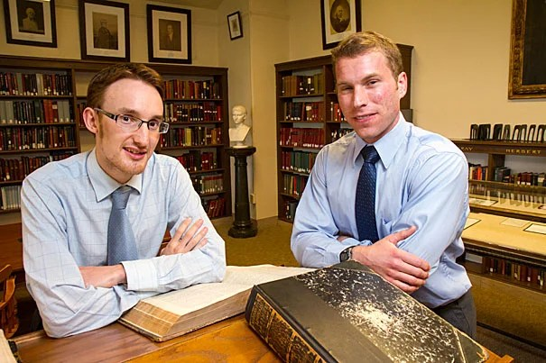 "Last year, Ph.D. student Stuart M. McManus (left) discovered a poem by Benjamin Larnell, the last Native American student at Harvard in the colonial era. Larnell's poem is most interesting for what it signifies, said Tom Keeline, a scholar of Latin pedagogy: ""that American Indians were trained in exactly the same way as colonial Puritans."""