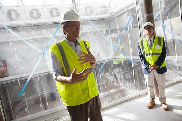 """My message is this is going to be a very different kind of art museum,"" said Harvard Art Museums director Thomas W. Lentz (left), who led a tour with Charles Klee, the principal at the architectural firm Payette, which is collaborating with the Renzo Piano Building Workshop on the renovation and expansion project (photo 1). Among the features in Renzo Piano's design is a glass rooftop, a giant skylight that will diffuse light down through the building's new central circulation corridor, adjacent galleries, and onto the Calderwood Courtyard (photo 2). The exterior is a combination of both the modern and traditional (photo 3)."