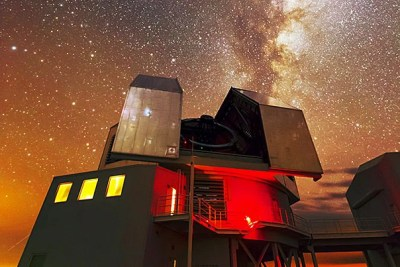 """The Magellan telescope (pictured) christened """"Clay"""" after astronomer Landon Clay, a Harvard graduate and philanthropist, is one of the two large Magellan telescopes at the Las Campanas Observatory in Chile."""