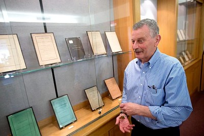 """""""It's easy to dismiss it as ancient history,"""" said Cliff Wunderlich, head of research services and curator of digital collections at Andover-Harvard Theological Library (photo 1). """"But it's something that has to be faced."""" """"The Soldier's Friend"""" has hymns and songs and practical advice to soldiers, including burial information and procuring artificial limbs (photo 2). Reprinted sermons were also popular: """"A Thanksgiving Sermon: Preached before the Thirty-Ninth O.V., U.S.A., at Camp Todd, Macon, Missouri, Nov. 28, 1861"""" (photo 3). Courtesy of Andover-Harvard Theological Library"""