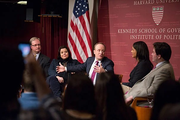 Institute of Politics Director Trey Grayson (from left) moderated a discussion with Ana Navarro, who is a 2013 fall fellow at the IOP; Paul Begala, a Democratic strategist; Karen Finney, a former director of communications for the Democratic National Committee; and Robert Costa, Washington editor for the National Review.