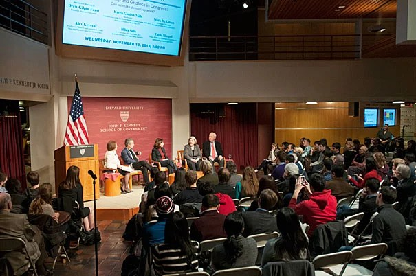 """A panel on capital partisanship and gridlock at Harvard Kennedy School brought together scholars from near and far. Moderated by Karen Gordon Mills '75, M.B.A. '77 (photo 2), the panel was introduced by Harvard President Drew Faust (photo 3), who said, """"Around the world, people looked at us and scratched their heads and began to wonder about the United States: Is the American Experiment unraveling? I think we all are searching for answers."""""""