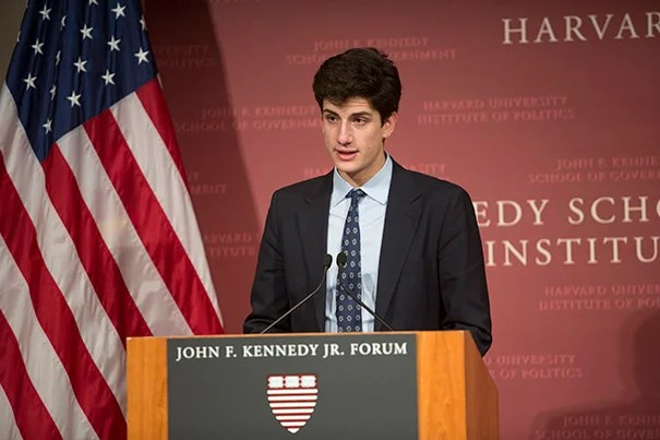 Jack Schlossberg (photo 1), grandson of President John F. Kennedy, presented the New Frontier Awards to U.S. Rep. Tulsi Gabbard (photo 2), a Hawaiian Democrat and a combat veteran who served two tours in the Middle East, while Charles Best (photo 3), a former Bronx high school teacher, was recognized for creating in 2000 the website DonorsChoose.org.