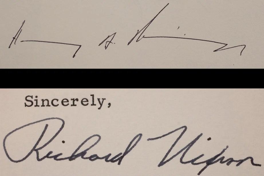 Henry Kissinger, 2012, and Richard Nixon, 1969