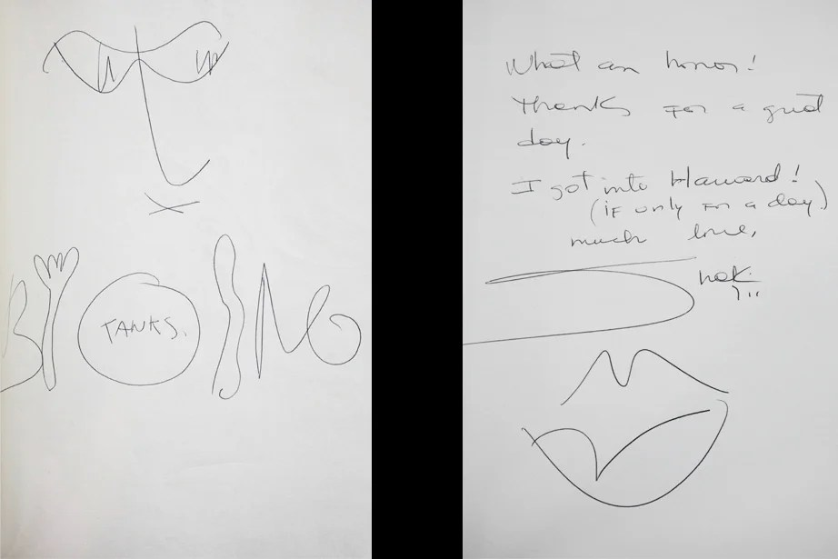 "Bono and talking tableware in 2001 (left) and Shakira's ""Lips don't lie"" signature in 2011"
