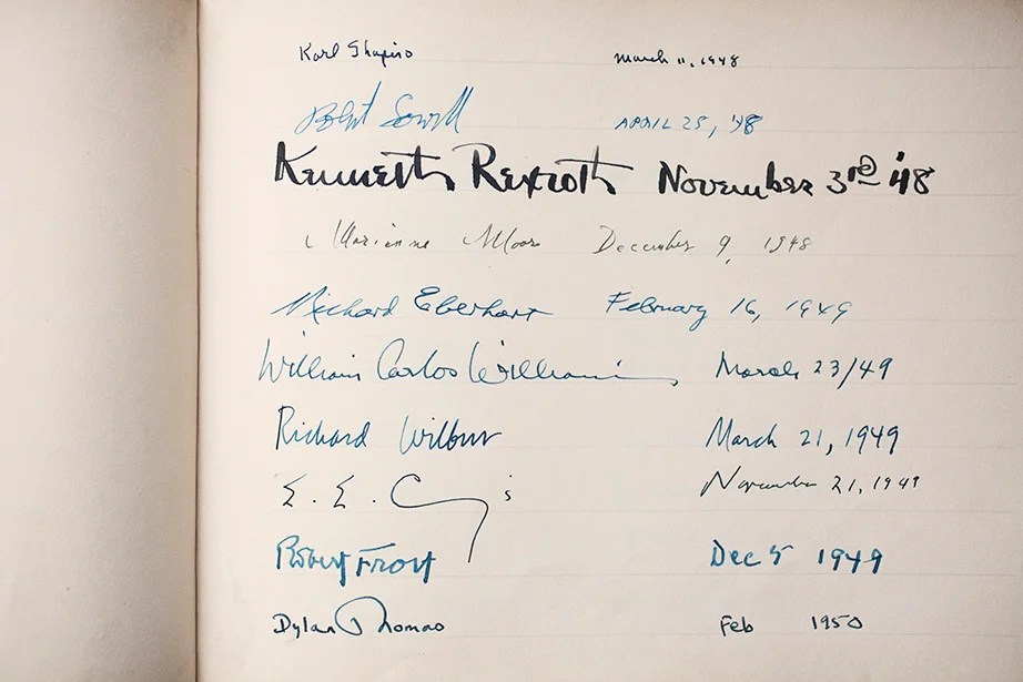 A 1948-49 page from the Morris Gray Signature Book at Harvard's Department of English