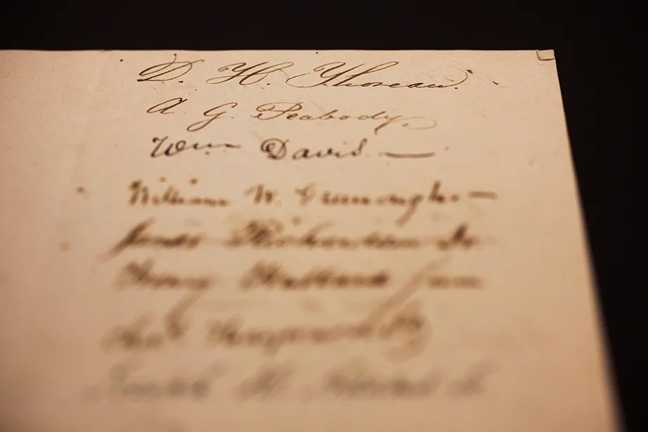 """D.H. Thoreau,"" who later took his middle name ""Henry"" as his first name, signs at the top of the page in a sheet of signatures from the Class of 1837."