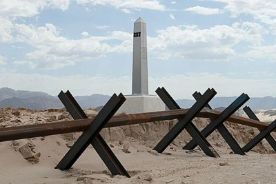 """For seven years, David Taylor photographed the 276 monuments marking the U.S.-Mexico border, documenting the people and experiences he encountered along the way. """"Border Monument No. 227"""" (photo 1), """"Seized Marijuana Bales, Arizona"""" (photo 2), and """"Border Monument No. 195"""" (photo 3) are among the collection on display at the David Rockefeller Center for Latin American Studies."""