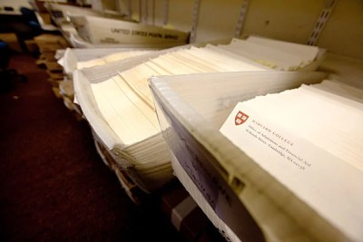 """Notifications letters were sent today to 2,023 of the more than 34,000 students who had applied to Harvard College. Among those accepted were record numbers of African-American and Latino students. """"The Class of 2018 reflects the excellence achieved by the students of an increasingly diverse America,"""" said William R. Fitzsimmons, dean of admissions and financial aid."""