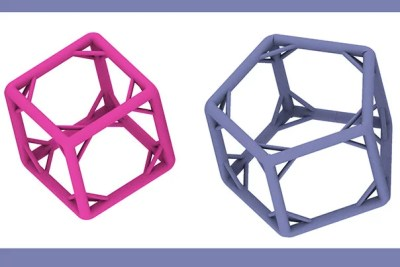 The five cage-shaped DNA polyhedra have struts stabilizing their legs. This innovation is what allowed a Wyss Institute team to build the largest and sturdiest DNA cages to date. The largest, a hexagonal prism (far right), is one-tenth the size of an average bacterium.