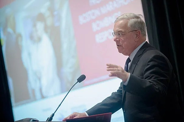 """Let us never, never forget what got us through last year: faith in each other,"" said former Boston Mayor Thomas M. Menino during his opening remarks at the symposium (photo 1). Leonard Marcus (left, photo 2),  founding co-director of the National Preparedness Leadership Initiative and a lecturer at the Harvard School of Public Health, said the goal of the symposium was to ""help frame and share the lessons so that other communities can be equally resilient."" Marcus was joined by HSPH Distinguished Visiting Fellow Richard Serino."