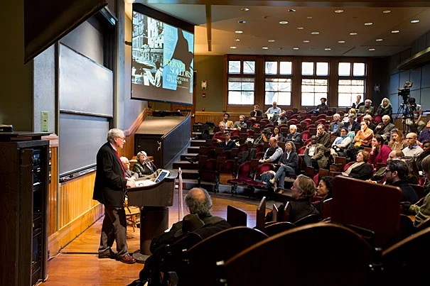 """Henry B. and Anne M. Cabot Professor of English Literature Werner Sollors' new book uses diaries, fiction, journalism, photographs, and movies to evoke what he called the """"raw"""" feelings just after the war, and the atmosphere of a ruined nation. Sollors spoke Wednesday night during a talk sponsored by the Mahindra Humanities Center."""