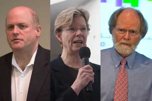 When government ponders helpful policies, Harvard faculty members are front and center. Professor Daniel Schrag (from left) is the director of the Harvard University Center for the Environment; Cherry Murray, dean of the Harvard School of Engineering and Applied Sciences, sits on the Secretary of Energy Advisory Board; and Professor James McCarthy chairs the board of directors for the Union of Concerned Scientists.