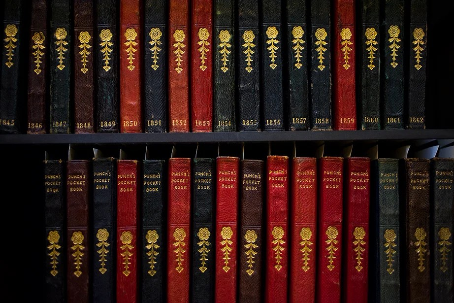 Punch's pocket books containing personal calendars, memoranda, cash accounts, and almanacs from the 1800s are some of the smaller volumes in the collection.
