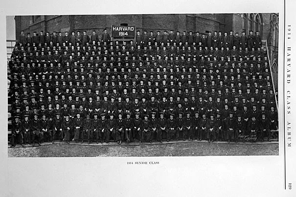 Seniors pose for the 1914 Harvard Class Album. Those sweet Commencement days marked a last, soon-lost innocence for Harvard, for Radcliffe, and for students everywhere. The world was on the verge of the first global war, which killed 16 million people and lit the fuse on wars to follow.