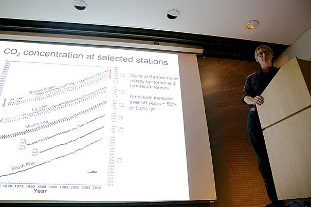 """We're way out of the natural range. If there's a symbol of us being at a dangerous level, it's that we're already at 400 parts per million,"" said Ralph Keeling (photo 1), the son of the late Charles Keeling, whose ""Keeling curve"" alerted the world to rising carbon dioxide levels in the 1960s. Keeling was joined by Daniel Schrag (photo 2), director of the Harvard University Center for the Environment, for an event titled ""Brave New World! Entering an Age of Climate Change Beyond 400 PPM."""