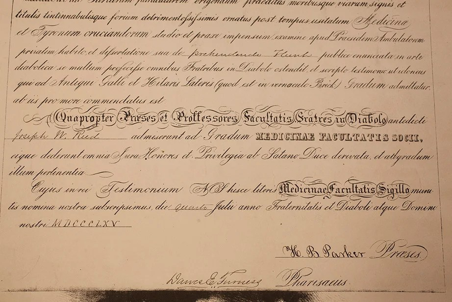 A Phony Medical Diploma Dated 1865 Designed By The Faculty Society