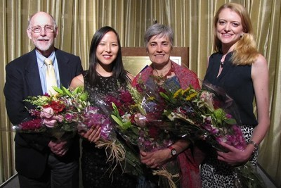 Interim Dean of Harvard College Donald Pfister (from left) joined Amy Yin '14 and Zipcar founder Robin Chase during the 2014 Harvard College Women's Leadership Awards ceremony. Kate Meakem '14 was awarded an honorable mention.