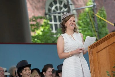 "Harvard Alumni Association President Catherine A. ""Kate"" Gellert '93 annnounced the results of the annual Board of Overseers election at Harvard's  Afternoon Exercises on Commencement Day."