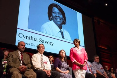 Staffers, including Cynthia Savory from Campus Services, were celebrated for their special expertise, leadership, and dedication to keeping Harvard humming.