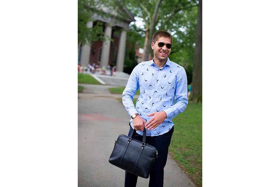 "There was no lack of confidence in Akaki Adamia, a management and finance summer school student from the Republic of Georgia. ""I look at other people's style,"" he said of his fashion inspiration, ""and upgrade it. My father gave me this shirt. He used to live by the seaside in Georgia."""