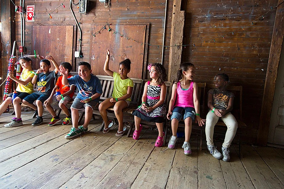 Campers attend field trips like this one to the Farrington property in Lincoln, Mass., where they were introduced to animals they'd never seen before.