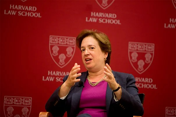"""""""I think it's an incredible group of people — smart, engaged, interesting, personable, really decent people. And I enjoy being with them,"""" U.S. Supreme Court Justice Elena Kagan told her HLS audience.  """"Sometimes the folks who I disagree with are really among my favorites to spend time with."""""""