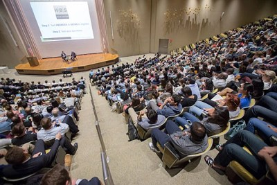 Paypal co-founder Peter Thiel urged Harvard students to avoid being small fish in big ponds, but instead focus on dominating a new or underserved market. Thiel joined Professor William Sahlman at Harvard Business School last week to talk business and venture capital.