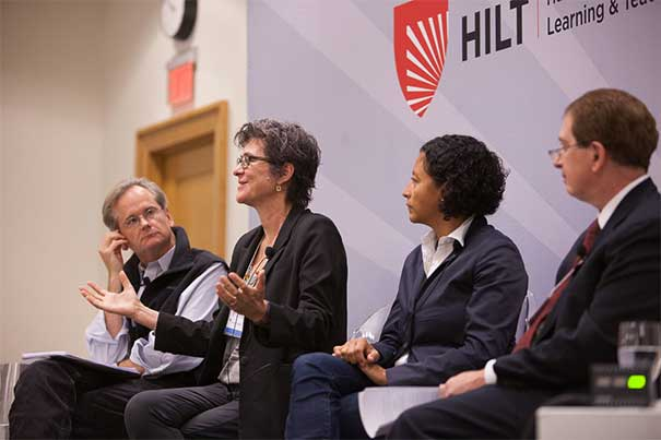"The opening faculty panel for HILT featured Harvard professors Lawrence Lessig (from left, photo 1), Melissa Franklin, Glenda Carpio, and was facilitated by David Garvin. Professor Stephen Blyth's (photo 2) breakout session was titled ""Simulations, Games, and Instructional Design for Engagement."" The audience of 400 faculty and students was asked to confer with colleagues and submit one question as a result of the panel discussion (photo 3)."
