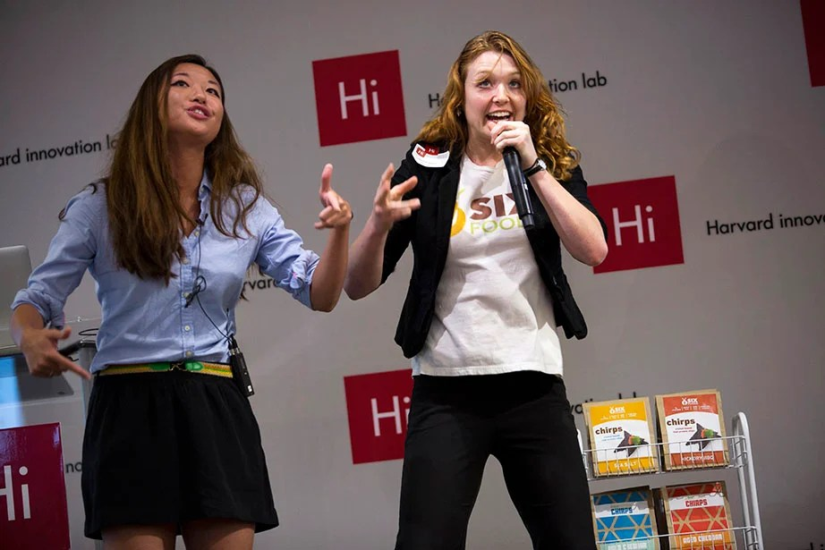 Rose Wang (left) and Laura D'Asaro rap about Six Foods, which makes healthy food from insects.