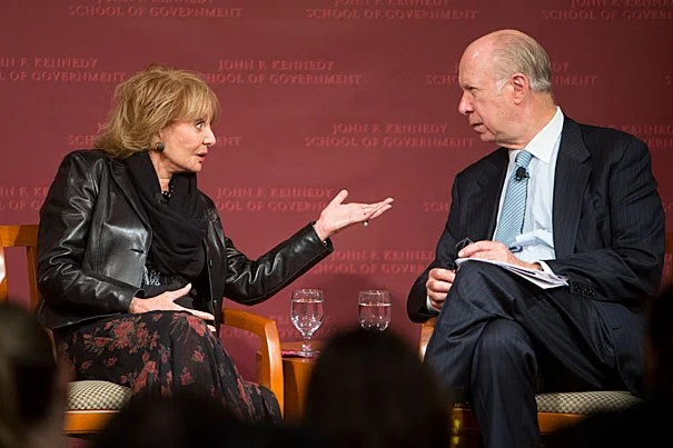 Barbara Walters covered decades in journalism in a conversation with David Gergen at the Kennedy School.